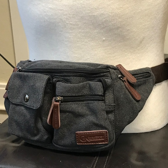 GK Eurosport Black Canvas Fanny Pack Belt Bag 13eb1043552c1